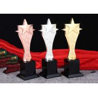 China Material Zinc Alloy Gold Silver Bronze Custom Trophy Cup With 3D Engraved Star for sale