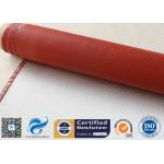 China 32OZ Red Silicone Coated Fiberglass Fabric Industrial Fire Safe Blanket 550℃ for sale