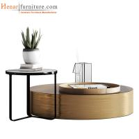 Round Concave Coffee Table Set, Steel with powder coating, Wooden, Glass for sale