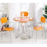 Tempered Glass Top Center Coffee Table Round Shape With Three Chairs