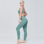 Customized Laser Cut Legging And High Impact Sport Bra With V Shape Back