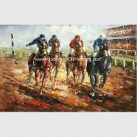 Abstract Palette Knife Oil Painting On Canvas  / Horses Running  Sports Art Painting for sale
