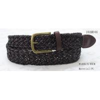 Polyester / PU Black Mens Woven Belts , Wax Rope Mens Brown Braided Belt for sale