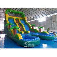 China 25' high tropical double lane inflatable water slide with double pool from China inflatable manufacturer for sale