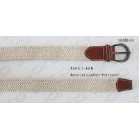 China Beige Polyester / Brown Mens Leather Stretch Belts With Black Nickel Buckle In 3.45cm Width for sale