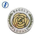 Round Shape Hard Enamel Lapel Pins / Custom Plating Gold Flower Lapel Pin for sale