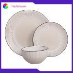 Stoneware dinner set glazed silkscreen dessert plate sala bowl ceramic tableware for sale