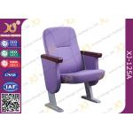 China Purple Full Upholstered Cover Auditorium Chairs In Short Back Rest for sale