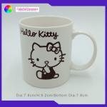 Straight Custom Printed Ceramic Coffee Mugs Kitty Cat Pattern With Silkscreen for sale