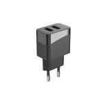 12W 5V2.4A Dual Ports USB Charger European 2Pin Plug Black