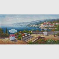 China Acrylic Classic Mediterranean Scenes Oil Painting Colorful Oceanside for sale