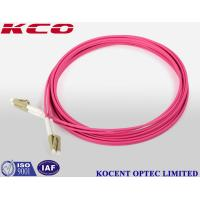 LC OM4 Duplex Fiber Patch Cable 3.0mm Diameter / LC OM4 Patch Cord Pink Color for sale