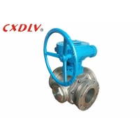Worm Gear Three Way Stainless Steel Flanged Ball Valve