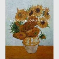 China Impressionism Van Gogh Sunflower Painting Reproduction Hand Painted Masterpiece on Linen for sale