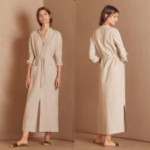 China 2018 Autumn New Arrivals Muslim Clothes Button Women Belt Maxi Shirt Dress for sale