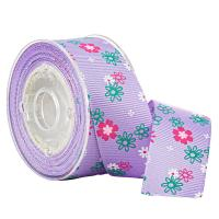 4 Colors Floral Printing Purple Grosgrain Ribbon for Gifts Boxes Wrapping for sale