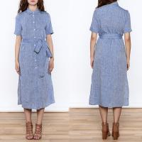 China Women Casual Button Down Solid Midi Linen Dresses ladies for sale