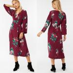 China Summer Women Hot Sale Clothes Long Sleeve Print Wrap Maxi Dress Beach Women for sale