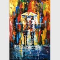 Framed Palette Knife Oil Painting On Canvas , Abstract Art Paintings Umbrella Girls for sale