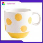 Custom Coffee Cups Handmade Stoneware Mugs Set Sesame Glaze Silkscreen 455ml for sale