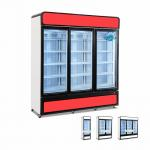 China Fan Cooling Chiller 3 Glass Door Upright  Refrigerator Freezer Showcase for sale