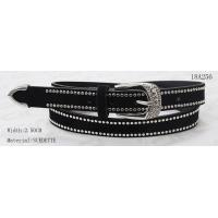 China Metal Loop Metal Tip Womens Black Belt With 2 Lines Studs & Embossment Decoration On Buckle for sale