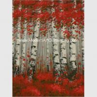 China Hand Painted Modern Art Oil Painting Brich Forest , Abstract Landscape Painting for sale