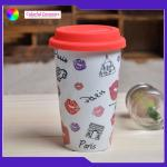 Double Layer Insulated Ceramic Coffee Mugs Without Handles Silicone Cover for sale