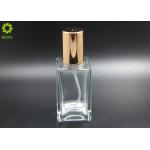 120ML Flat Shoulder Spray Pump Glass Bottle With Caps Gold Tops for sale