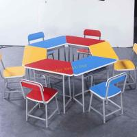 China Durable Amusement Colorful Student Desk And Chair Set / Kids School Table for sale
