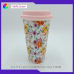 Silicon Lid Insulated Ceramic Coffee Mugs Without Handles Unique Design for sale