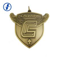 Antique Gold Brass Custom Sports Medals And Ribbons , 3D Metal Plating Custom Race Medals for sale