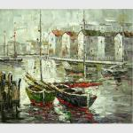 China Bright Hand Painted Boats Oil Painting At Low Tide , Modern Abstract Canvas Art for sale