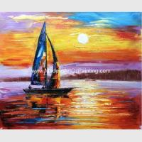 Impressionism Sunrise Seascape Oil Paintings Palette Knife Sailboat Flexible for sale