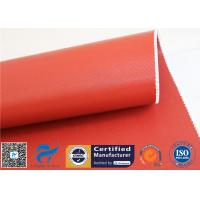 China 1150GSM Silicone Coated Fiberglass Fabric 0.85MM Red Fire Blanket 39.4 50M Roll for sale