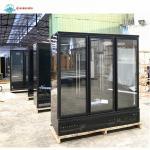 China 1500L Glass Door Fan Cooling Commercial Upright Showcase Fridge Supermarket Vertical Freezer for sale