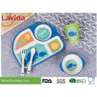 Food Grade Eco Bamboo Childrens Dinner Set 5 pcs Set with 4-sections Plate Glass Fork and Spoon Shatter-proof Reusable for sale