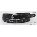 China Heavy Metal Studs Ladies Black Belt , Womens Fashion Belts With Silver Buckle for sale