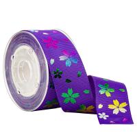 Printed Rainbow Flower On Purple Grosgrain Ribbon For Candy Packaging for sale