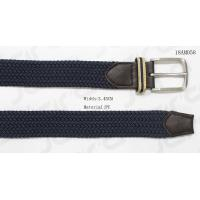 Male Navy Stretch Belts With Brown PU Tip , With Woven Tape Loop for sale