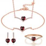 Sterling Silver Natural Garnet Jewelry Set Chain Necklace Bracelet Ring Earrings for sale