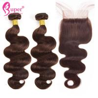 Dark Brown Color 4 Human Hair Weave Extension With Closure Body Wave for sale