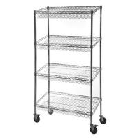 Retail Storage Systems  4 - Tier Slanted Wire Shelving Suture Cart Chrome Finish for sale