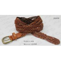 China Brown Geniune Leather Braided Belt For Lady , Decoration Belt With Antic Brass Buckle for sale