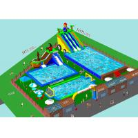 Custom Inflatable Water Amusement Park Pool Combined With Slide for sale