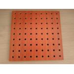 Polyester Fiber Rock Wool Perforated Wood Acoustic Panels For Cinema / Museum for sale