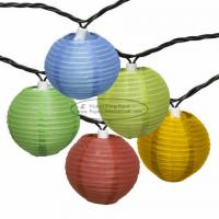China 3 inch chinese yellow purple Paper Lantern String Lights led 10 pcs battery operated supplier