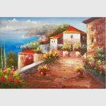 China Mediterranean Sea Oil Painting Impression Coastline Landscape Painting for Decor for sale