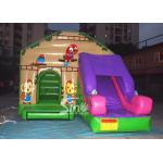 Commercial backyard jungle theme kids inflatable jumping castle with slide made of best pvc tarpaulin for sale