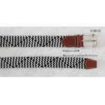 Black & White Braided Elastic Mens Stretch Belts With Leather Part In 3.6cm Width for sale